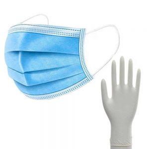 10Stk Atemschutzmaske mit Handschuhe